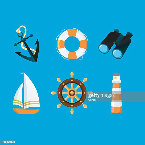 Sailing icons on a blue background