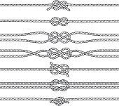 Sailing knots horizontal borders or deviders. Vector marine decorations