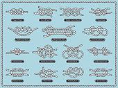Sailing rope knots. Vector set of nautical design elements