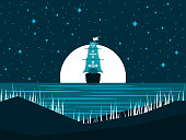 Sailing ship at night against the full moon. Moonlight on the water. Seascape. Vector illustration