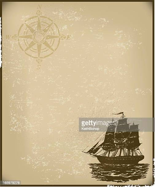 Sailing - Ship Background with Compass