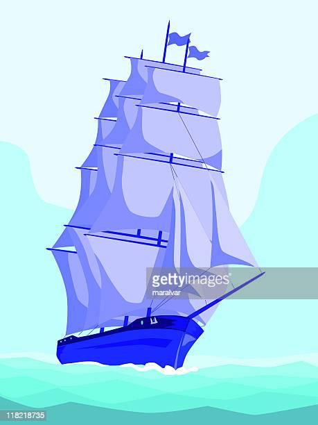 ilustrações, clipart, desenhos animados e ícones de vela navio frente - tall ship