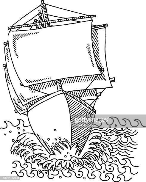 Sailing Ship Full Sails Drawing