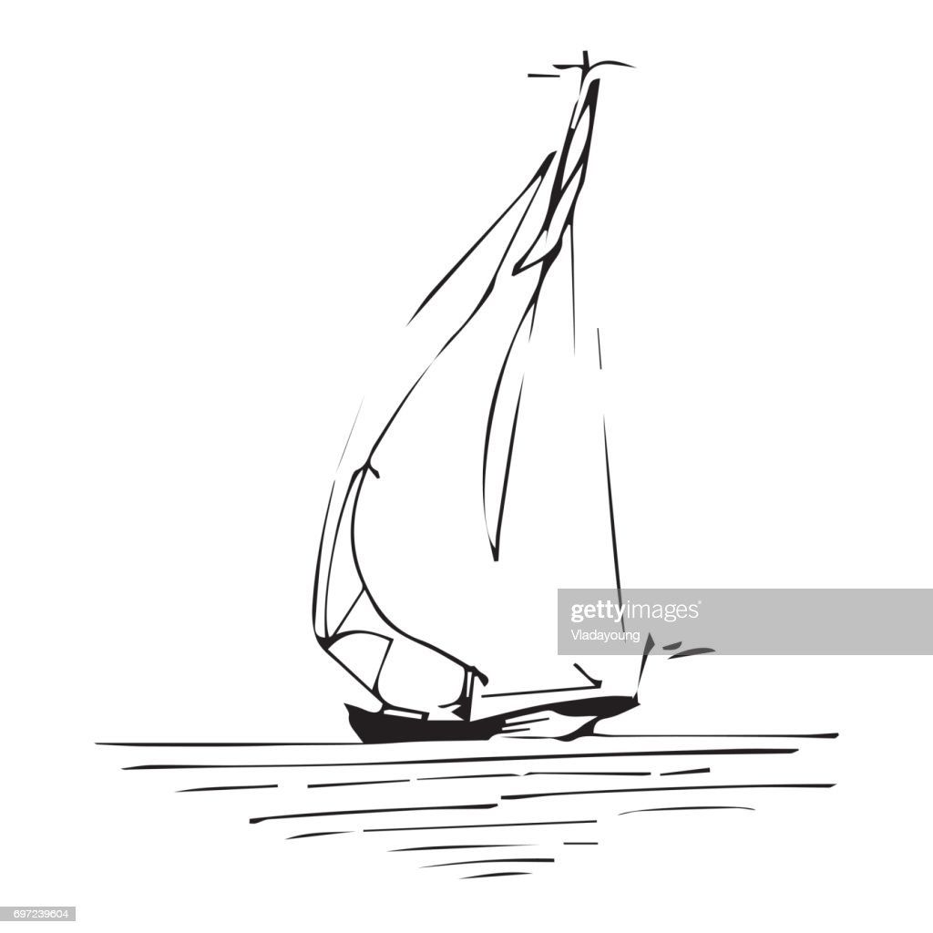 Sailing ship or boat in the ocean in ink line style. Hand sketched yacht. Marine theme design.