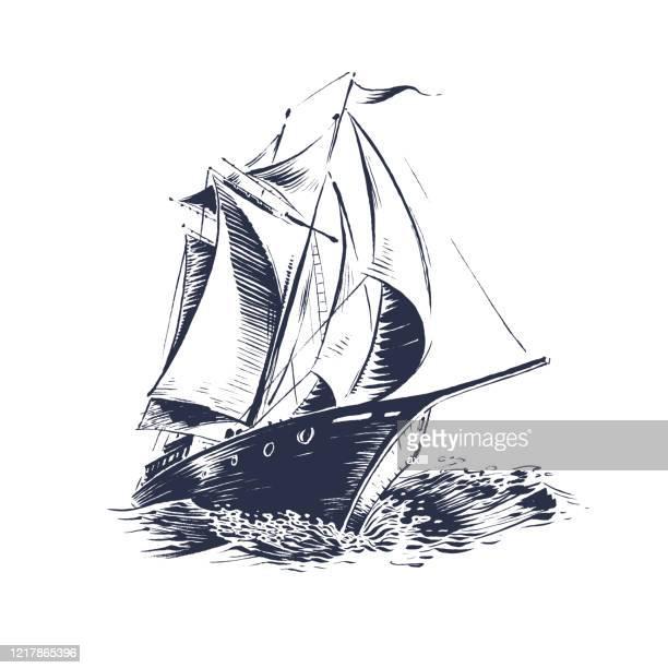 sailing ship wood cut - nautical vessel stock illustrations