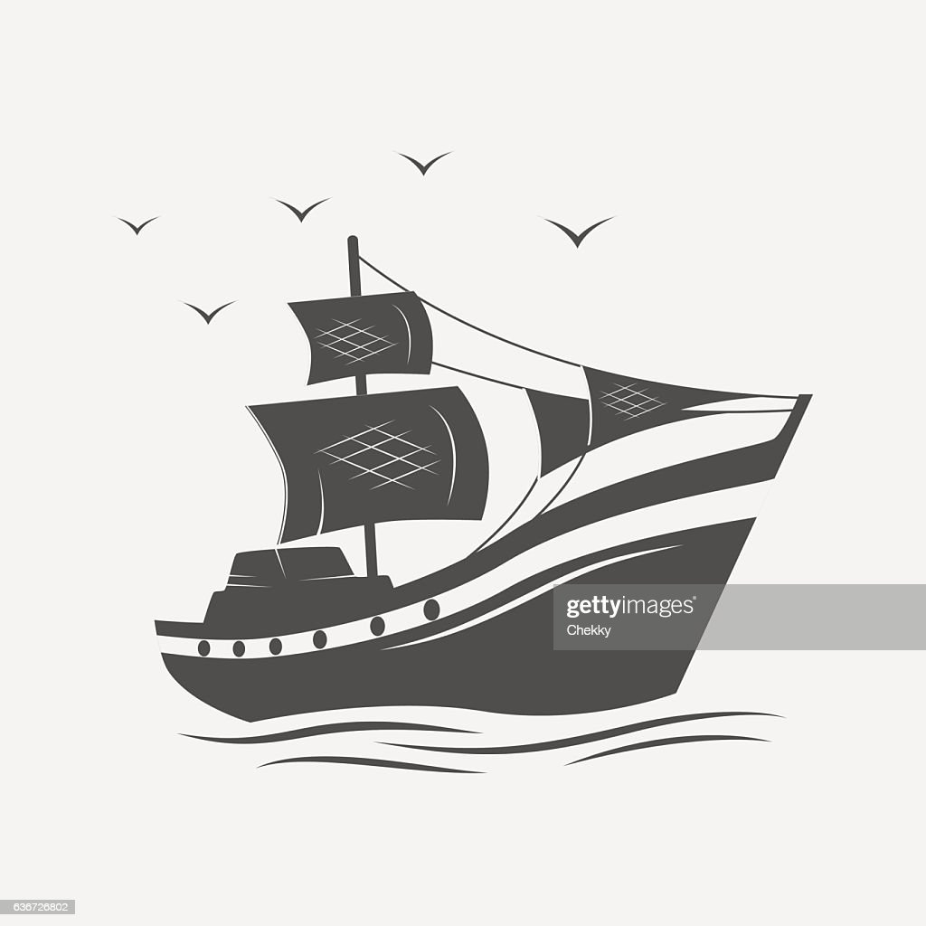 Sailing ships on the sea isolated