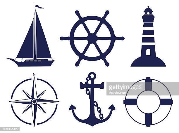 sailing symbols - lighthouse stock illustrations