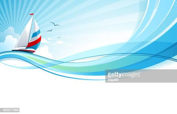 illustrazioni stock, clip art, cartoni animati e icone di tendenza di barca a vela - barca a vela