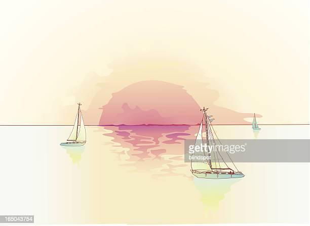 ilustraciones, imágenes clip art, dibujos animados e iconos de stock de navegación a vela - vista marina