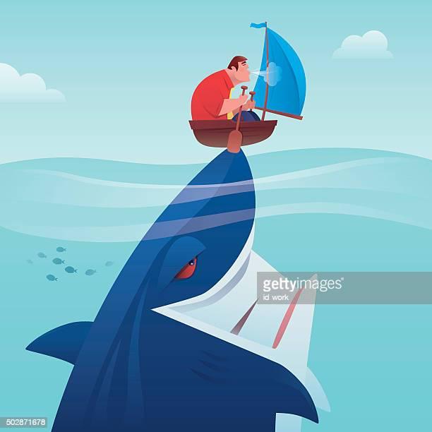 illustrations, cliparts, dessins animés et icônes de navigation à voile - requin