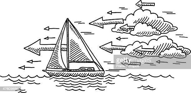 illustrations, cliparts, dessins animés et icônes de voile au vent de dessin nuage direction de - voilier noir et blanc