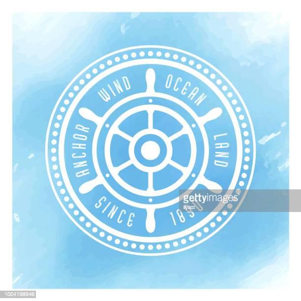 Sailor Badge Watercolor Background