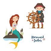 Sailor, captain holding steering wheel and mermaid sitting on rocks