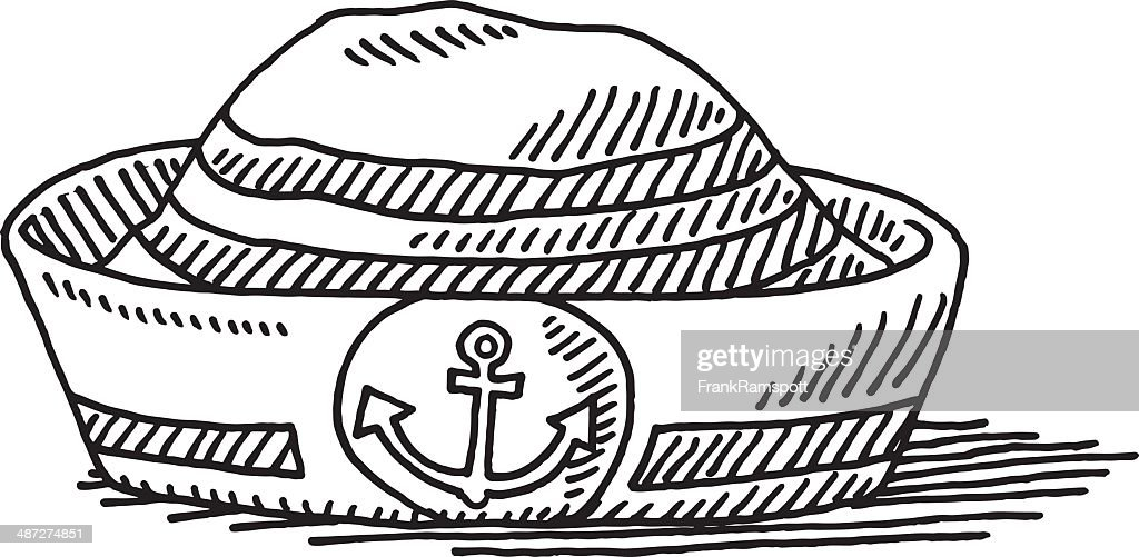 e698fd3749b32 Sailor Hat Anchor Symbol Drawing stock vector - Getty Images