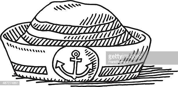 セーラー帽子アンカーシンボルの描出 - セーラーハット点のイラスト素材/クリップアート素材/マンガ素材/アイコン素材