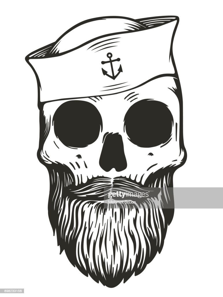Sailor skull with beards and mustache wearing sailor hat
