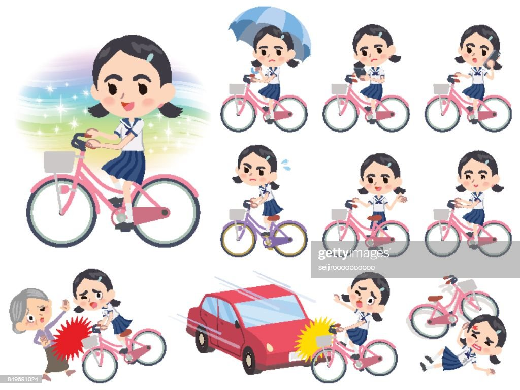 Sailor suit Thick eyebrows girl_city bicycle