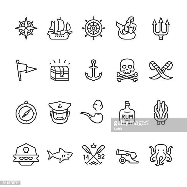 sailors historical vector icons - pirate boat stock illustrations, clip art, cartoons, & icons