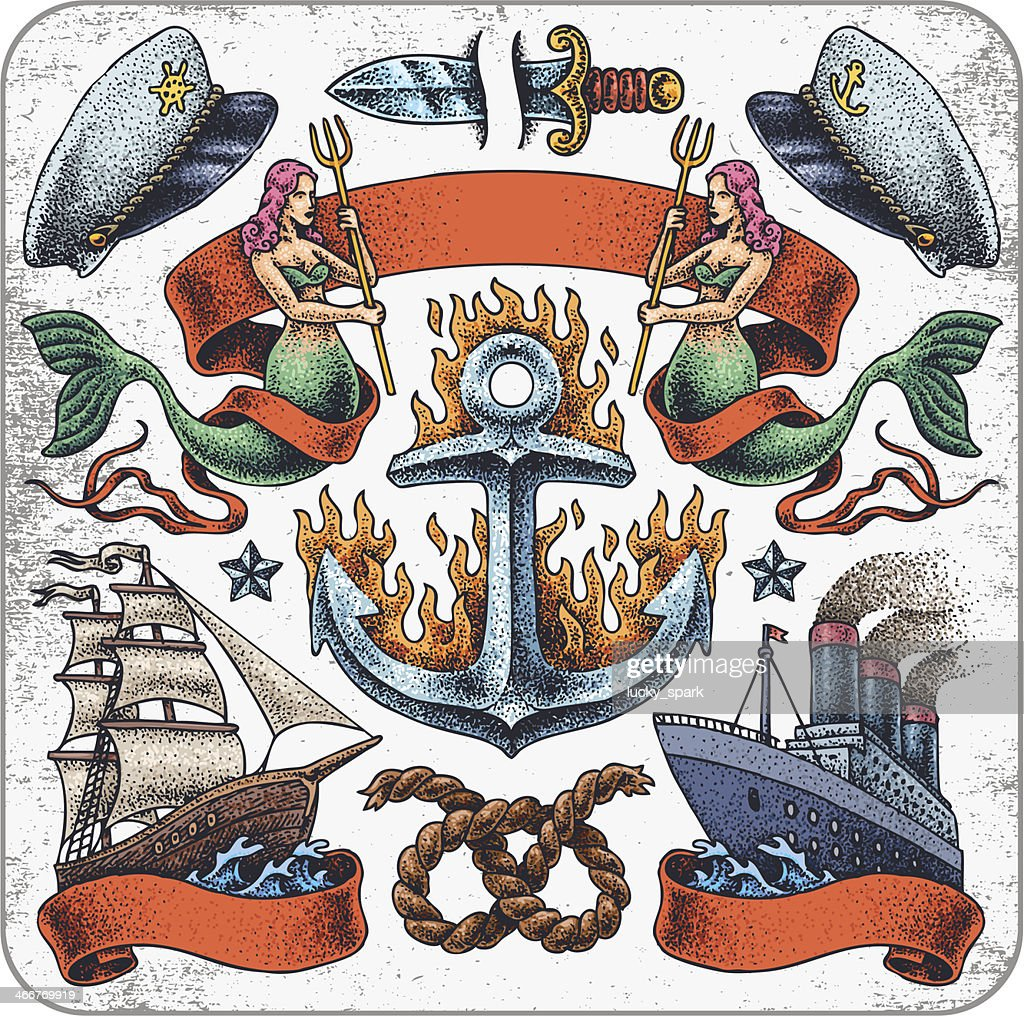Sailors' tattoo set.
