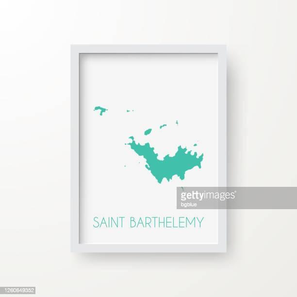 白い背景のフレームのサンバルテルミー地図 - フランス海外領点のイラスト素材/クリップアート素材/マンガ素材/アイコン素材