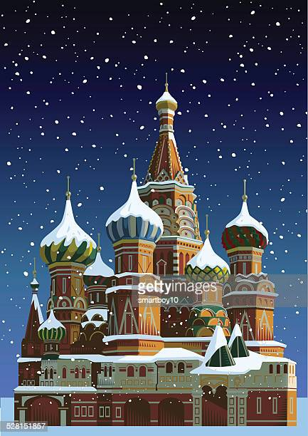 saint basil's cathedral at christmas - moscow - red square stock illustrations, clip art, cartoons, & icons