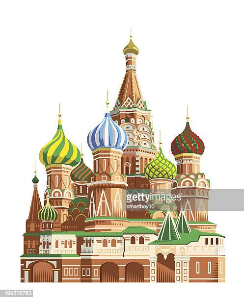 saint basil's cathedral - moscow - red square stock illustrations, clip art, cartoons, & icons