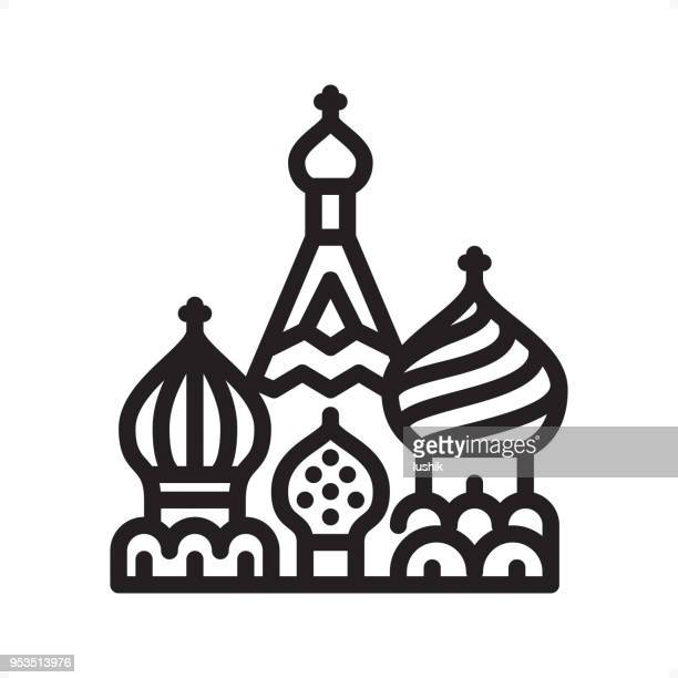 saint basil's cathedral - outline icon - pixel perfect - red square stock illustrations, clip art, cartoons, & icons
