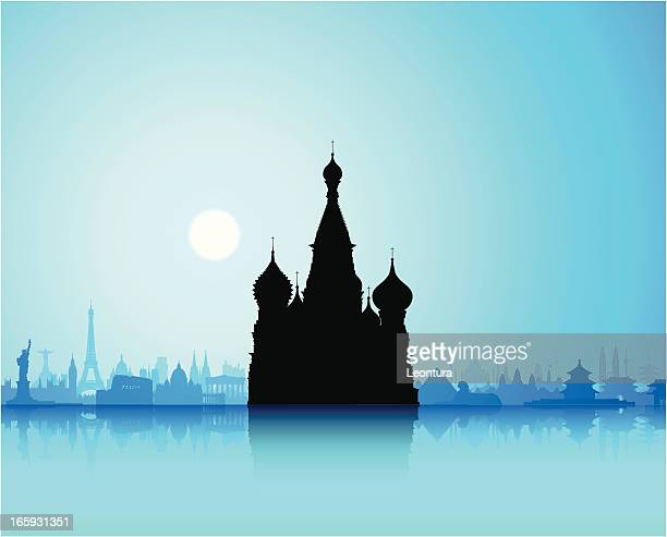 saint basil's cathedral, russia - red square stock illustrations, clip art, cartoons, & icons