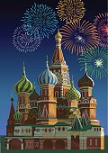 Saint Basil's cathedral with fireworks - Moscow