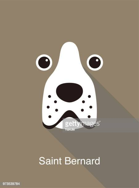 Saint Bernard dog face flat icon design, vector illustration