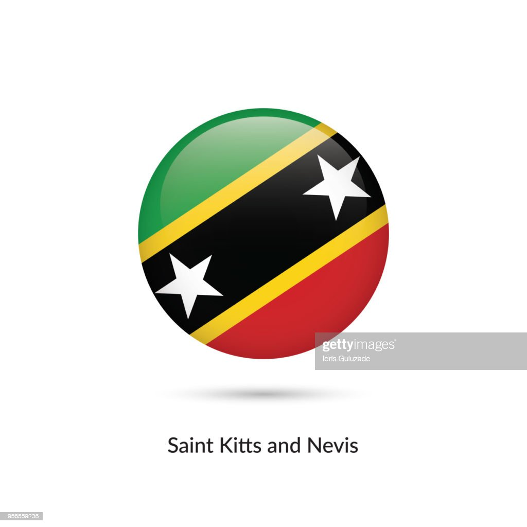 Saint Kitts and Nevis flag - round glossy button