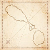 Saint Kitts and Nevis map in retro vintage style - old textured paper