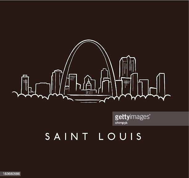 saint louis skyline sketch - st. louis missouri stock illustrations