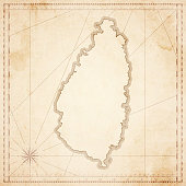 Saint Lucia map in retro vintage style - old textured paper