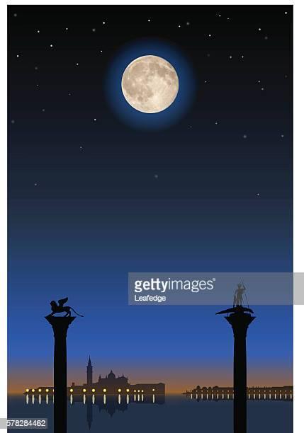 ilustrações de stock, clip art, desenhos animados e ícones de saint mark's square under the full moon - megalith
