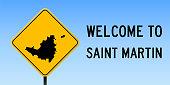 Saint Martin map on road sign.