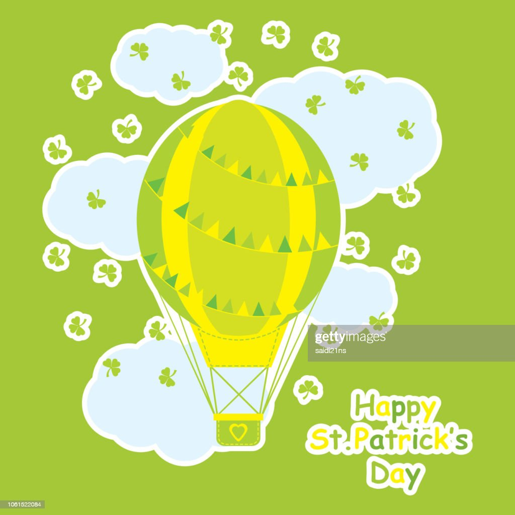 Saint Patrick Day's card with cute hot air balloon and shamrock leaves suitable for kid postcard