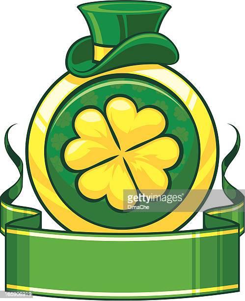 saint patrick's tag banner mit clower - saint patricks tag stock-grafiken, -clipart, -cartoons und -symbole