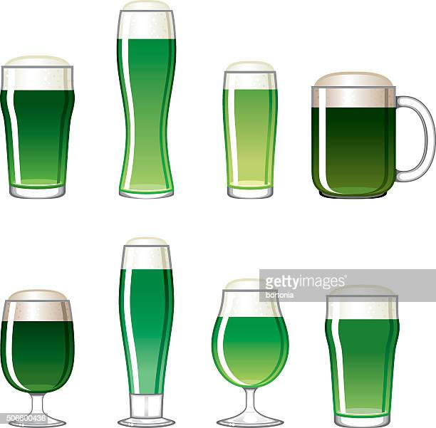 Saint Patrick's Day Beer Glass Icons Set