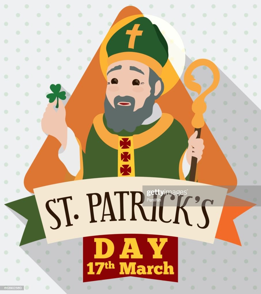 Saint Patrick's Day Design in Flat Style with Irish Apostle