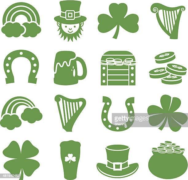 saint patricks day - icons set - irish culture stock illustrations