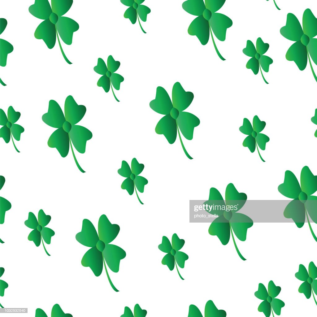saint Patricks day pattern with four leaf clover