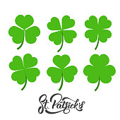 Saint Patrick's Day. Set of irish clovers, shamrock leaves. St. Patricks Day decoration elements
