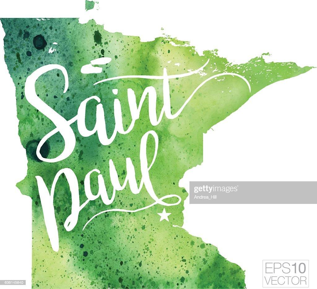 Saint Paul Minnesota Usa Vector Watercolor Map Vector Art | Getty Images