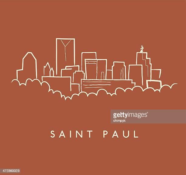 saint paul skyline sketch - st. paul minnesota stock illustrations