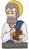 Saint Peter Holding a Book and Key with Stone Sign
