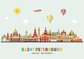 Saint Petersburg detailed skyline. Vector illustration