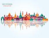 Saint Petersburg famous monuments . Vector illustration