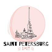Saint Petersburg Hand drawn poster. Russian architecture.