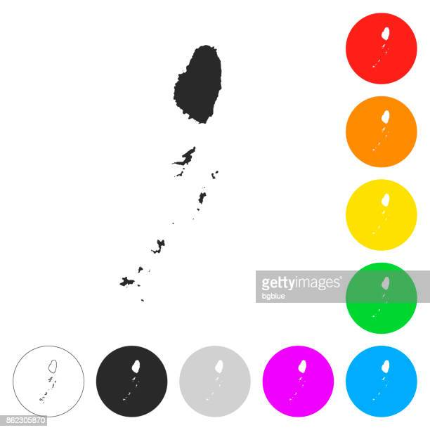 saint vincent and the grenadines map - flat icons, color buttons - saint vincent and the grenadines stock illustrations